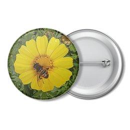 """Значок """"Медовое солнце."""" - лето, цветок, солнце, насекомое, макро мир"""