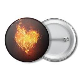 """Значок """"Огненное сердце"""" - сердце, любовь, огонь, страсть, чувства"""