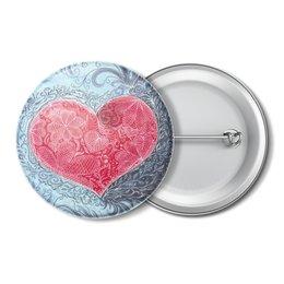 """Значок """"Алое сердце в кружевах любви"""" - сердце, любовь, морской, горячее сердце, кружева"""