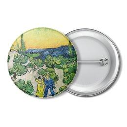 """Значок """"Пейзаж с прогуливающейся парой и полумесяцем"""" - картина, ван гог"""