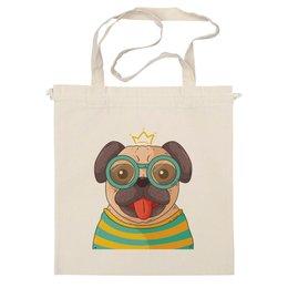 """Сумка """"Мопс-Учёный"""" - мопс, собака, учёный, наука, корона"""