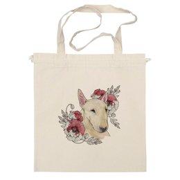 "Сумка ""Бультерьер"" - цветы, акварель, маки, бультерьер, bull terrier"