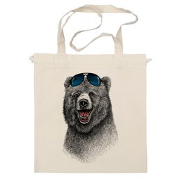 """Сумка """"Позитивный медведь"""" - bear, медведь, animal, солнечные очки, арт дизайн"""