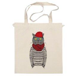 """Сумка """"Cat Hipster"""" - кот, лето, смешные, полоска, прикольные, очки, cat, дизайн, креатив, хипстер"""