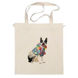 "Сумка ""Собака, на пляже отдыхака"" - отдых, собака, пляж, beach, гавайская рубашка, french bulldog, французский бульдог"