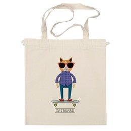 """Сумка """"Catboard"""" - кот, арт, скейтборд, спорт, популярные, прикольные, очки, хипстер, котейка, доска"""