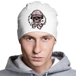 "Шапка классическая унисекс ""Skull Art"" - skull, череп, grenade, колючая проволока, гранаты"