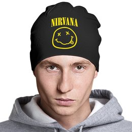 "Шапка классическая унисекс ""Nirvana"" - nirvana, рок, группы, курт кобейн, нирвана"
