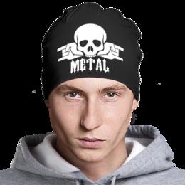 "Шапка ""Metal"" - череп, рок, rock, hard, металл"