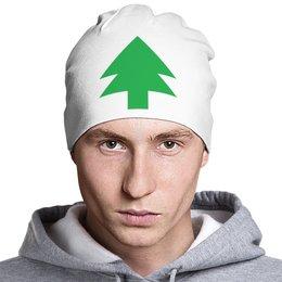 "Шапка классическая унисекс ""Зелёная ёлка танграм"" - елка, новыйгод, елочка, нг2018, танграм"