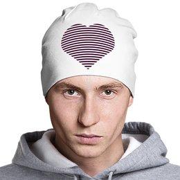 """Шапка классическая унисекс """"Сердце"""" - любовь, heart, стиль, мода, полоски"""