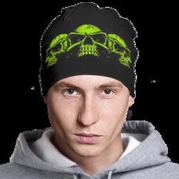 "Шапка классическая унисекс ""Skull Art"" - skull, skulls, череп, черепа, арт дизайн"