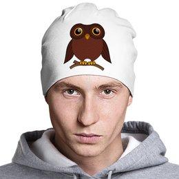 """Шапка классическая унисекс """"Совёнок"""" - птица, сова, птичка, совушка, на ветке"""