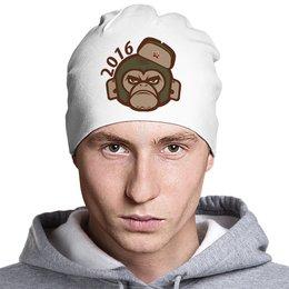 """Шапка классическая унисекс """"Обезьяна - символ нового 2016 года."""" - обезьяна, новогодний символ, символ 2016 года, обезьяна в шапке, обезьяна в шапке ушанке"""