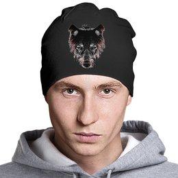 """Шапка """"Волк на охоте"""" - хищник, олень, волк, wolf"""
