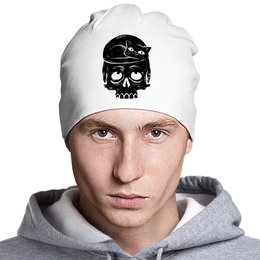 "Шапка классическая унисекс ""Skull Art"" - череп, кот, skull, cat, арт"