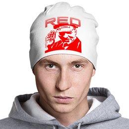 "Шапка классическая унисекс ""RED (Красный)"" - white, ленин, supreme, off white, вайт"