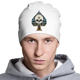 """Шапка классическая унисекс """"Череп - skull (цветная)"""" - skull, череп, орнамент, тату, пики"""