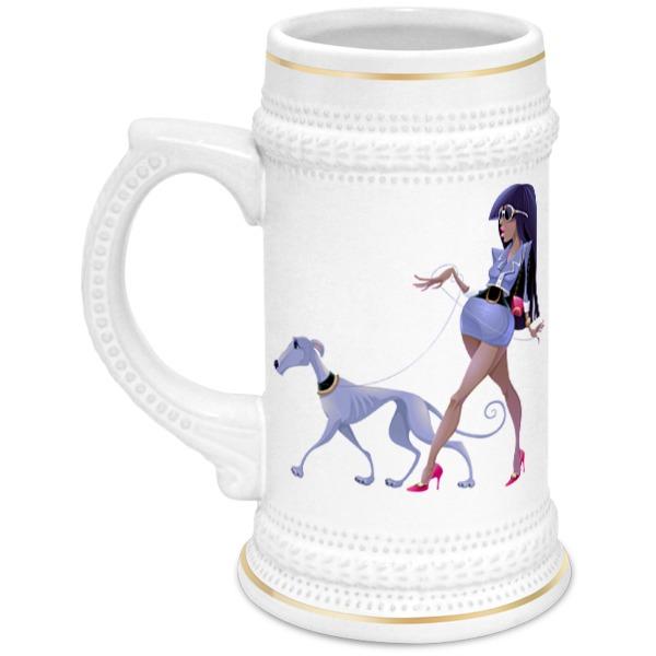 Кружка пивная Printio Леди с собакой