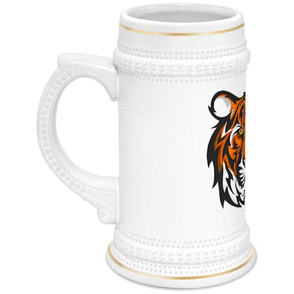 Кружка пивная Printio Голова бенгальсконо тигра на белом фоне. бесплатно бенгальского котенка на сахалине