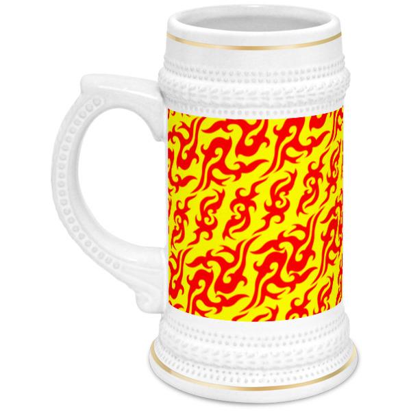 Кружка пивная Printio Пиво - огонь! лонгслив printio ячмень солод вода пиво