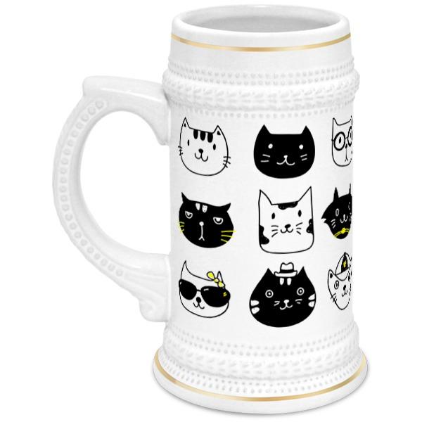 Кружка пивная Printio Милые котики