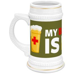 """Кружка пивная """"Моя группа крови пиво"""" - пиво, кровь, blood, beer"""