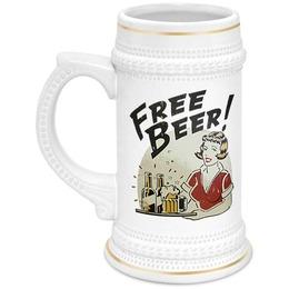 """Кружка пивная """"Free beer!"""" - винтаж, пиво, подарок, постер, пивная кружка, девушка с пивом, free beer"""