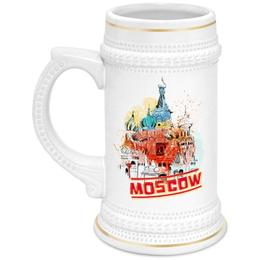 """Кружка пивная """"Москва"""" - москва, россия, храм, красная площадь, василий блаженный"""