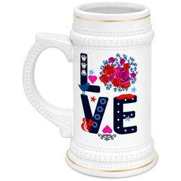 """Кружка пивная """" Любовь"""" - любовь, цветы"""