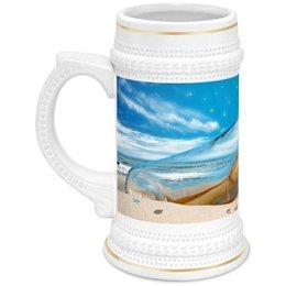 """Кружка пивная """"Бутылка с запиской."""" - море, пляж, почта, бутылка, записка"""