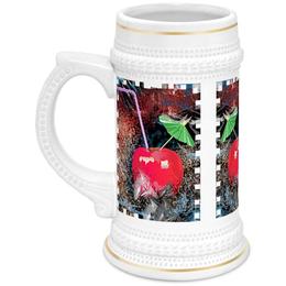 """Кружка пивная """"Яблочный микс"""" - напиток, абстракция, яблоко, фрукт, натюрморт"""