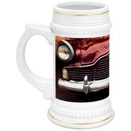 """Кружка пивная """"Ретро авто"""" - ретро, авто, красный, пиво, фары"""