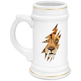 """Кружка пивная """"Лев ( Lion)"""" - хищник, лев, lion, животное, царь зверей"""