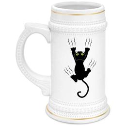 """Кружка пивная """"Прикольный кот"""" - кот, кошка, животные, cat"""