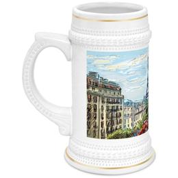 """Кружка пивная """"Эйфелева башня"""" - графика, франция, париж, эйфелева башня"""