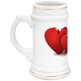 """Кружка пивная """"Валентинка"""" - сердце, цветы, валентинка"""