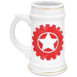 "Кружка пивная ""RED'S Logo"" - red, мотоцикл, байкер, механика, шестерёнки"