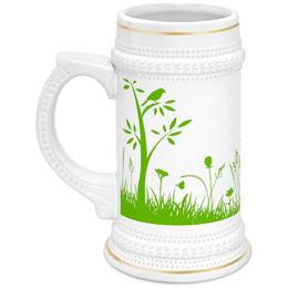 """Кружка пивная """"Летняя трава"""" - бабочки, лето, цветы, трава, стрекозы"""