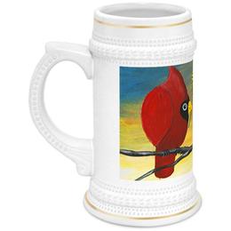 """Кружка пивная """"У птиц 8 Марта"""" - подарок к 8 марта, для пива, птицы с мимозой, прикольные птицы, влюблённая пара"""