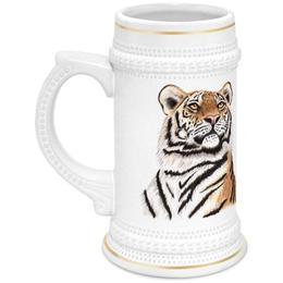"""Кружка пивная """"Взгляд тигра"""" - хищник, животные, взгляд, тигр, зверь"""