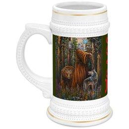 """Кружка пивная """"ВЕЛЕС. СЛАВЯНСКИЕ БОГИ"""" - надпись, медведь, волк, славянская мифология, арт фэнтези"""