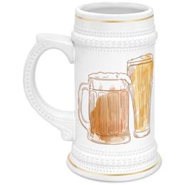 """Кружка пивная """"Пивная"""" - рисунок, пиво, напиток, бокал, стокан"""