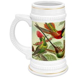 "Кружка пивная ""Колибри (Trochilidae, Ernst Haeckel)"" - 8 марта, птицы, картина, маме, эрнст геккель"