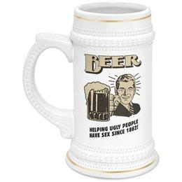 "Кружка пивная ""Help ugly people"" - подарок, beer, пивная кружка, help ugly people, старый постер"