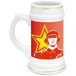 """Кружка пивная """"23 февраля"""" - 23 февраля, армия, защитник, отечество"""