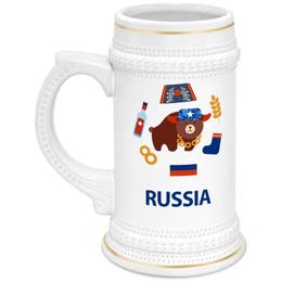 """Кружка пивная """"Россия (Russia)"""" - russia, россия, медведь, ушанка, рф"""