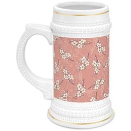 """Кружка пивная """"Цветочный принт"""" - цветы, вишни, ветка, фон, грязно-розовый"""