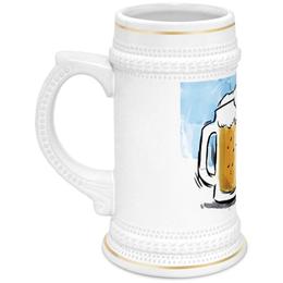 """Кружка пивная """"Пшеничный колос"""" - пиво, бокал, пена, пивной, барный"""