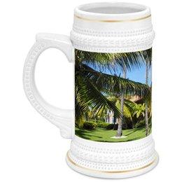 """Кружка пивная """"""""Доминикана. Тропический сад"""""""" - лето, путешествия, travel, пальмы, доминикана"""